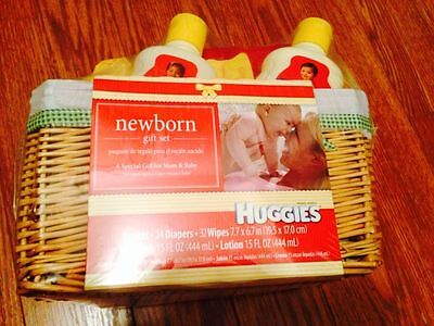 New Born Gift Set Boy or Girl Huggies Set Diapers Wipes Lotion Wash Basket
