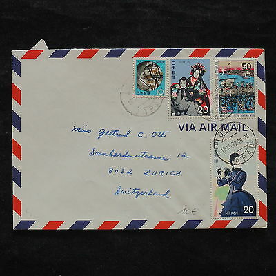 ZS-X285 JAPAN - Costumes, 1972, Airmail To Switzerland Cover
