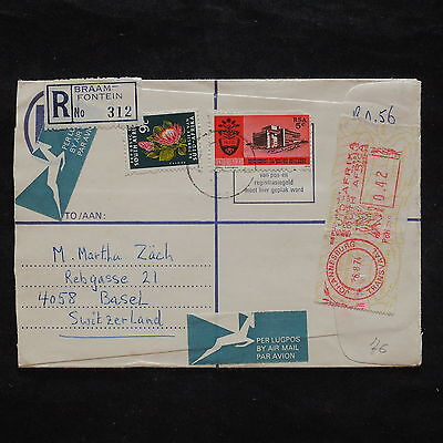 ZS-X364 SOUTH AFRICA IND - Registered, 1974 Airmail To Switzerland Flowers Cover