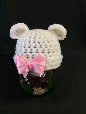 Baby, Photo Prop, White Crochet Knit  Bear Hat, Turn Up + Pink Bow newborn size