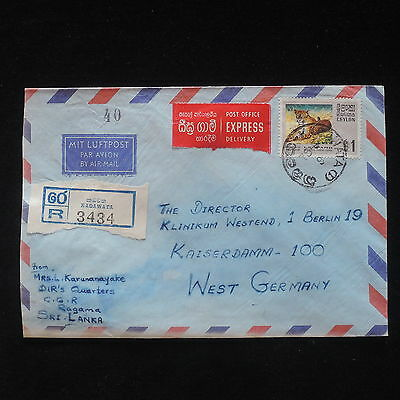 ZS-X873 CEYLON - Wild Animals, Registered Airmail To Germany, 1985 Cover