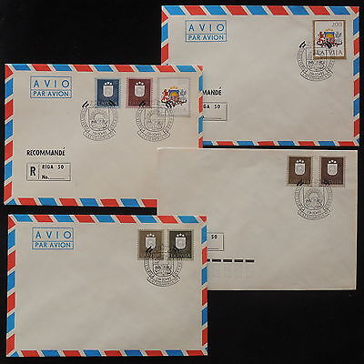 ZS-X944 LATVIA - Registered, Coats Of Arms, Fdc, Lot Of 4 Airmail Covers