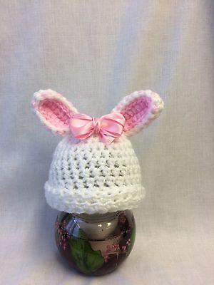 Baby, Photo Prop, Easter, Crochet Knit White Bunny Hat + Pink Bow  size Newborn
