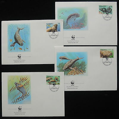 ZS-Y389 WWF - Vanuatu, 1988, Fdc, Marin Life, Fish, Great Lot Of 4 Covers