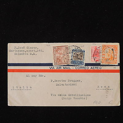 ZS-Y498 COLOMBIA - Cover, 1940, Airmail To Italy