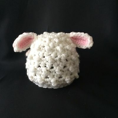 Photo Prop, Easter, Gift, Crochet Knit Lamb Hat, Pink Inner Ears. Size 0-1month