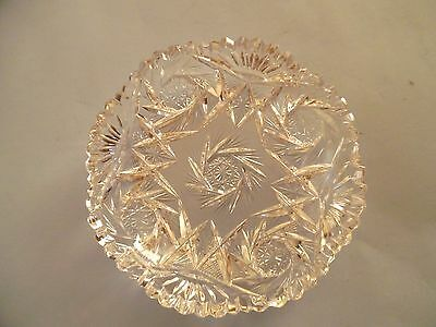 Cut Glass Clear Lead Crystal Dish Whirling Star Pattern