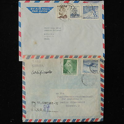 ZS-Y736 CHILE - Airmail, Registered, Lot Of 2 To Germany Covers