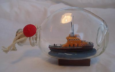 RNLI Severn  Boat Ship in a Bottle Model Glass Ornament Nautical Sea Lifeboat