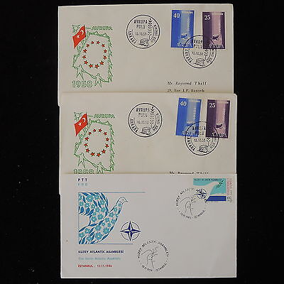 ZS-Y921 TURKEY - Fdc, 1958, Europa Cept, Lot Of 3 Covers