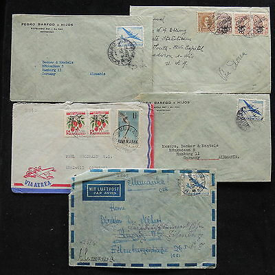 ZS-Z171 URUGUAY - Airmail, Lot Of 5, To Germany Covers