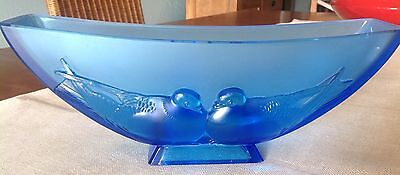 verlys 1930's blue mourning doves console bowl