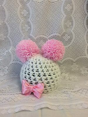 Baby, Photo Prop, Crochet Knit White Hat + Pink Pom Poms Size 0- 1 Month.