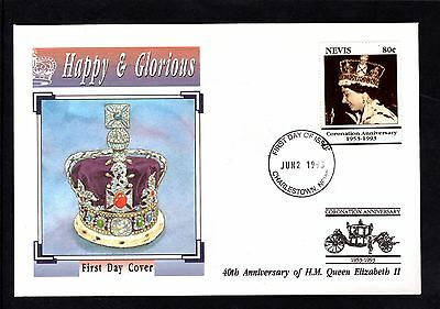 Nevis 1993 40th Anniversary of QEII Coronation illustrated FDC - 2/6/93