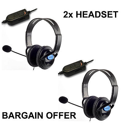 2x DELUXE HEADSET HEADPHONE WITH MIC VOLUME CONTROL -PS4/PRO,XBOX1/1S & PC