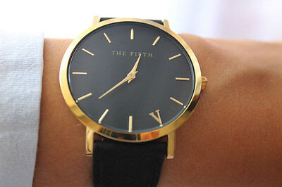 The Fifth Brand Women Men Casual Simple Quartz Analog Watch Gold Leather Band Wr
