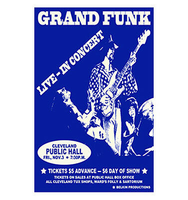 Grand Funk 1972 Cleveland Concert Poster