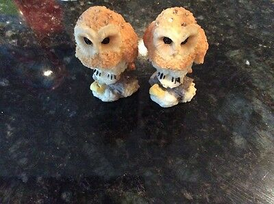 A pair of owl ornament