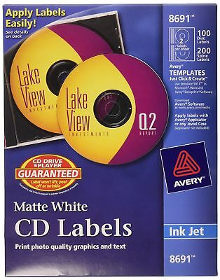 Avery CD Labels - 100 Disc labels & 200 Spine labels (8691) new 1