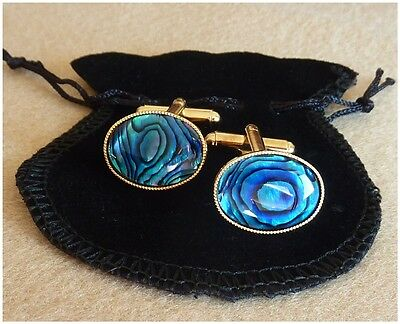 Mens Blue Cufflinks Abalone Shell Gold Plated Cufflinks Oval Valentine's Gift