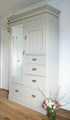 Antique Shabby Chic Wardrobe Armoire Compactum Drawers Painted in Farrow & Ball