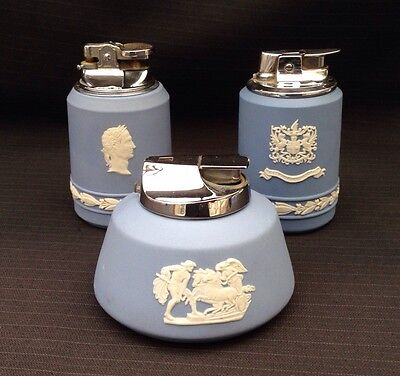 Wedgwood Blue Jasperware 3 x Table Lighters - Great Condition