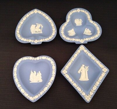 Wedgwood Blue Jasperware 4 x Decorative Trays - Playing Cards - Great Condition