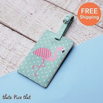 Flamingo Luggage Tag Gift Travel Holiday Label ID Tags Fun Suitcase Bag Pink