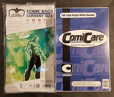100 Current Size Comic Bags and Boards Resealable Ultimate Guard ComiCare NEW