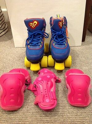 Rio Roller Skates UK Size 2 Blue with Yellow Wheels Includes Protection