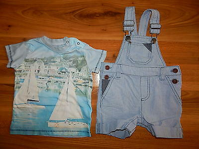 NEXT boys outfit bundle 6-9 months dungarees blue top *I'll combine postage