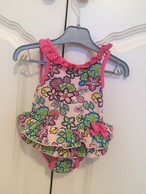 Boots mini club baby girl swimming costume 3-6 months. Pink floral. VGC