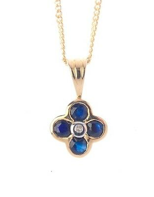 Stunning Solid 9ct Gold Sapphire And Diamond Pendent Necklace, Gift