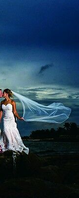 "White / Ivory Wedding Bridal 1 Tier Veil  about 64"" / 158 cm"