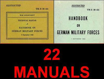 .22 WW2/WWII US German Military Manuals/Walther P 38/Luftwaffe/Antiaircraft -ll