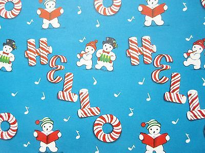 Vintage 1940's-50's Christmas Wrapping Paper - Snowmen Singing Candy Cane HELLO