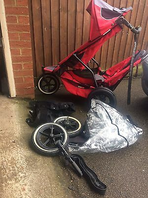 Phil & Teds Sport Red/Graffiti Jogger Double Seat Stroller/Pushchair