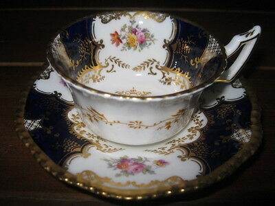 Coalport England Bone China Tea Cup & Saucer Cobalt Blue