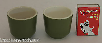 Avocado Green Egg Cups Pair Two Ceramic White inside New Zealand Vintage