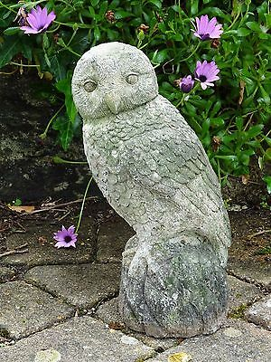 Stone Cast Garden Ornament - Freestanding Owl on perch