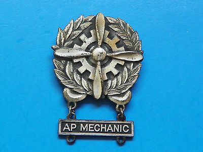 Wwii Sterling Original Army Air Corp Technicians Badge With Tab