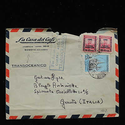 ZS-AC134 COLOMBIA - Airmail, 1952 From Bogota To Genoa Italy,Transoceanic Cover