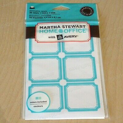 graphic relating to Removable Printable Labels titled MARTHA STEWART Property Business Detachable Printable Labels Blue Teal Border Sq. 36