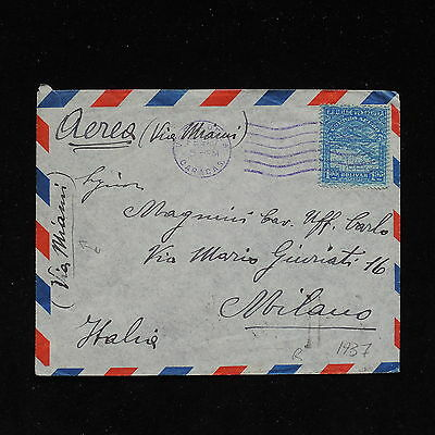 ZS-AC138 VENEZUELA - Airmail, 1937 From Caracas To Milan Via Miami Cover