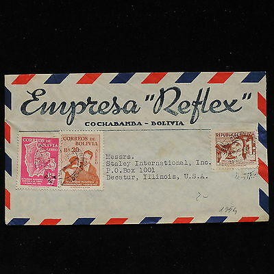 ZS-AC164 BOLIVIA - Airmail, 1954 From Cochabamba To Decatur Usa Cover