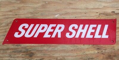 "Shell Oil Gas Station Sign Pump Plate ""Super Shell"""