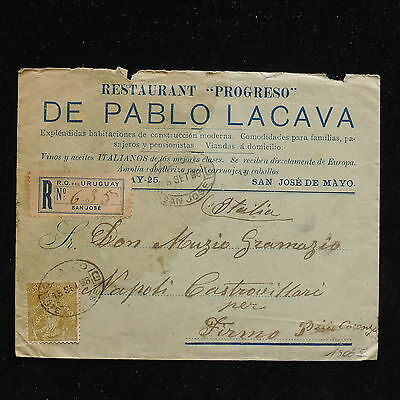 ZS-AC216 URUGUAY - Cover, 1906 Registered From San Jose To Naples
