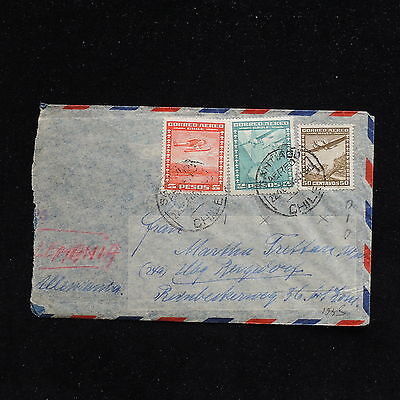 ZS-AC219 CHILE - Aviation, 1948 Airmail From Santiago To Germany Cover