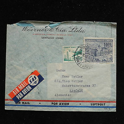 ZS-AC220 CHILE - Sas, 1957 Airmail From Santiago To Krefeld Germany Cover