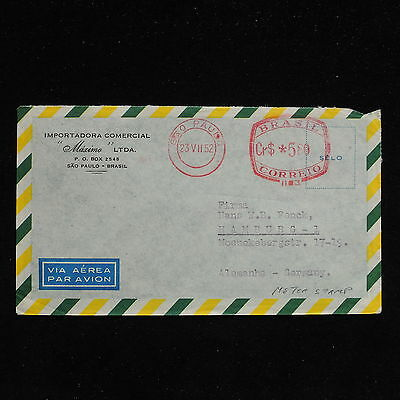 ZS-AC223 BRAZIL - Airmail, 1952 From Sao Paolo To Hamburg, Meter Stamp Cover